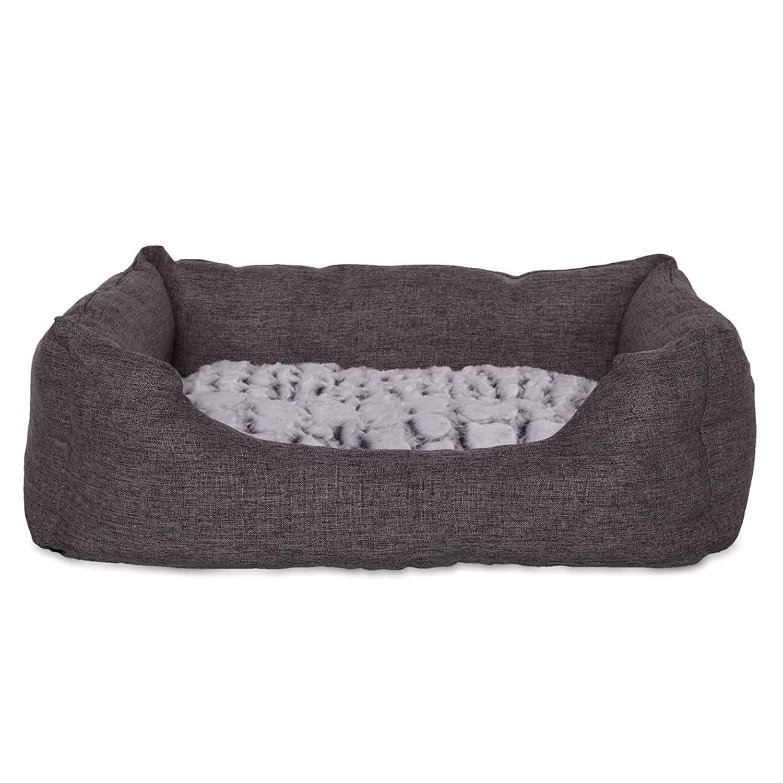 dibea Hundebett Hundekissen Hundekörbchen mit Wendekissen meliert Größe S 60x50 cm Farbe grau