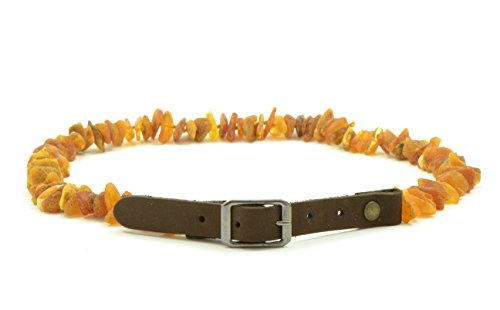 Haustierhalsband mit verstellbarem Lederband, 20–65 cm, natürlicher Floh- und Zeckenschutz, mit echten ungeschliffenen Perlen aus Baltischem Bernstein