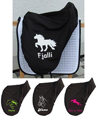 Sattelschoner Baumwolle mit Name und Pferdemotiv - wählen Sie aus unseren Motiven (schwarz)
