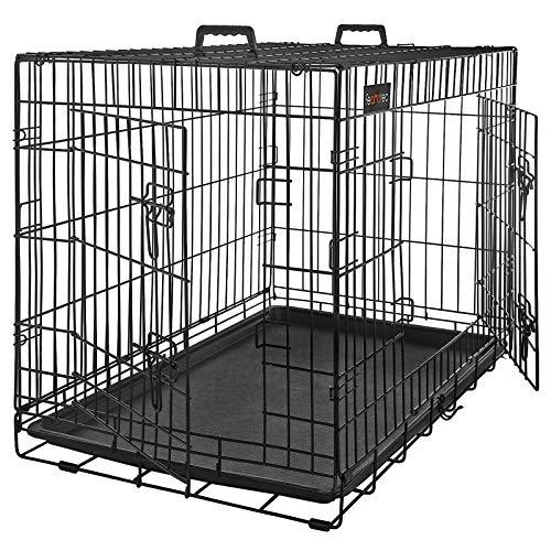 FEANDREA Hundekäfig, Hundebox, klappbar, 122 x 74,5 x 80,5 cm, schwarz PPD48H