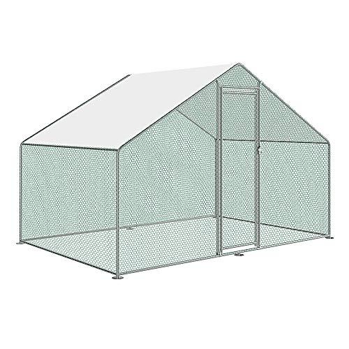 AufuN Freilaufgehege Hühnerstall mit Schloss, Verzinkter Stahlrahmen, PVC-beschichtetes Schatten Dach für Hühnerkäfig Geflügelstall Vogelkäfig Kleintiere, 3 x 2 x 2m