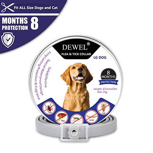 DEWEL Hund Zecken Halsband, Natürliches Reflektierendes Halsband gegen Zecken & Flöhe, Flohhalsband gegen Zecken, Milben