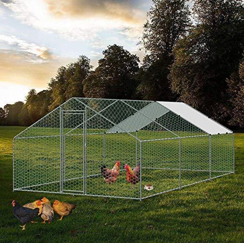 vanvilla Tiergehege Hühnerstall Freilaufgehege für Hühner Hasen Kleintiere Kaninchen Stall Kaninchenauslauf Hasenauslauf Auslauf 3x6x2 m