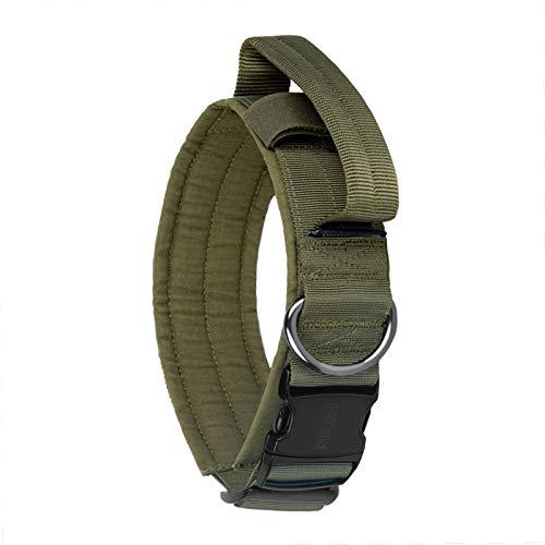 OneTigris K9-Halsband mit Metallschnalle für Hunde (Ranger Grün, L)