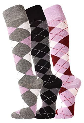 TippTexx 24 3 Paar oder 6 Paar Ökotex Reiter Kniestrümpfe, Reitstrümpfe in modischen Karo Mustern und zusätzlicher Garantie (Flieder/Anthrazit/Weinrot - 3 Paar, 35-38)
