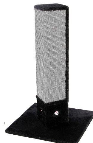 Kerbl 81594 Kratzbaum 4-Corner, 4-eckige Kratzsäule mit Sisal in schwarz-grau, mit Spielmäusen, Höhe 80 cm