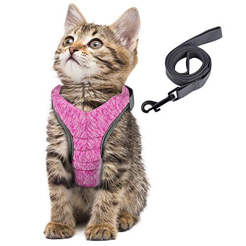 Simpeak Katzengeschirr, Katzengeschirr mit Leine Ausbruchsicher, Geschirr für Katzen Welpengeschirr Weich, Klein, Rosa