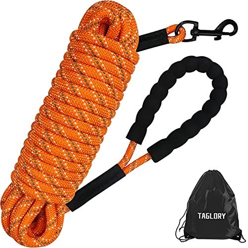 Taglory Schleppleine 20m für Hunde, Hundeleine mit Gepolsterten Griff, Trainingsleine für Kleine bis Große Hunde, Orange